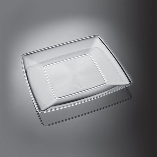 بشقاب پلاستیک چهارگوش شفاف